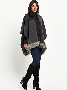 lipsy-wax-grey-fur-trim-blanket