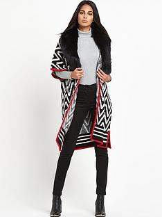south-faux-fur-trim-jacquard-blanket-capenbsp