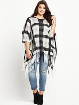 Brushed Check Tassel Poncho One Size