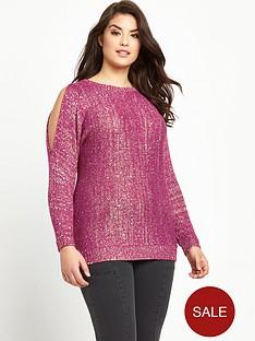 so-fabulous-plus-size-sequin-cold-shoulder-jumper-14-28