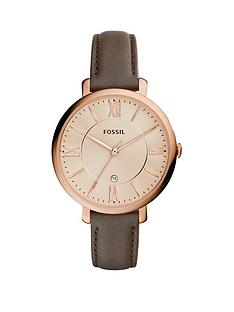 fossil-jacqueline-rose-gold-plated-case-champagne-dial-leather-strap-ladies-watch