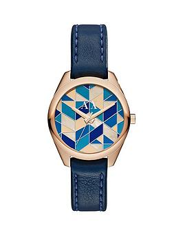 armani-exchange-blue-mosaic-dial-and-dark-blue-leather-strap-ladies-watch