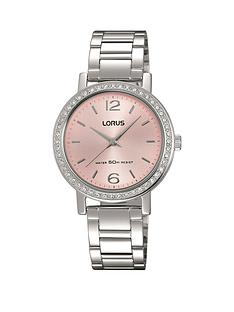 lorus-pink-sunray-dial-stainless-steel-ladies-watch