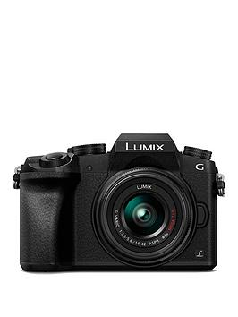 panasonic-dmc-g7-keb-k-compact-system-camera-with-14-42mmnbspoisnbsplens-4k-photo-4k-video-16mp-4x-digital-zoom-wi-fi-olednbspviewfinder-ampnbsp3-tilt-screen-display-with-pound50-cashback