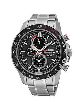seiko-black-dial-sportura-solar-perpetual-stainless-steel-bracelet-mens-watch