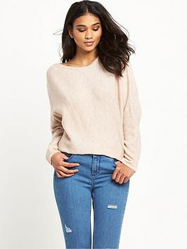 miss-selfridge-miss-selfridge-cream-slouchy-chuck-on-crop-jumper