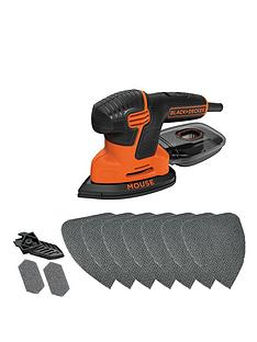black-decker-ka2000at-gb-120w-compact-mouse-sander-with-10-sanding-sheets-and-storage-tin