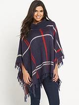 Brushed Check Poncho