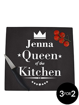 personalised-queen-of-the-kitchen-glass-chopping-board