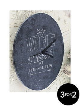 personalised-wine-o039clock-slate-clock