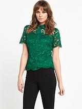 All Over Lace Blouse With Collar