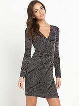 V-Neck Wave Glitter Dress
