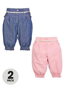 ladybird-baby-girls-chambray-and-twill-cuffed-jeans-2-pack