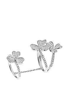tresor-paris-tresor-paris-sterling-silver-white-crystal-flower-double-ring