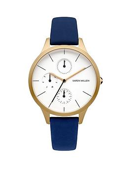 karen-millen-karen-millen-multifunction-white-dial-blue-leather-strap-ladies-watch