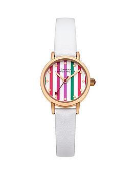 johnny-loves-rosie-multi-coloured-stripe-dial-white-pu-strap-ladies-watch