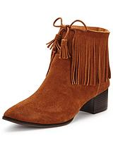 Broadwell Point Fringe Suede Ankle Boots
