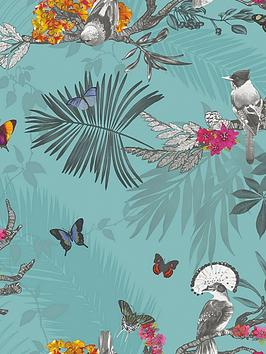 arthouse-mystical-forest-teal-wallpaper