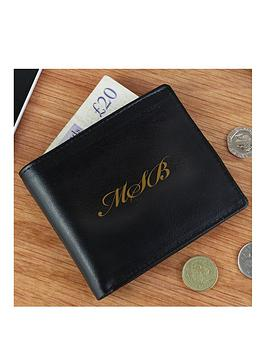 personalised-monogram-black-leather-wallet