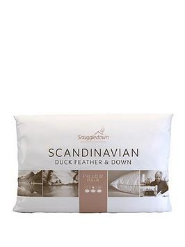 Snuggledown Scandinavian Standard Pillows Pair Medium : Snuggledown of Norway Scandinavian Duck Feather & Down Pillow Pair littlewoodsireland.ie
