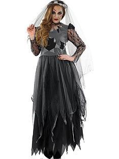 halloween-black-corpse-bride-dress-with-choker-and-veil