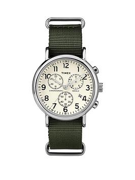 timex-weekender-chronograph-cream-dial-with-green-strap-mens-watch