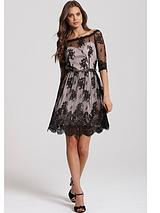 LITTLE MISTRESS BORDER LACE BARDOT DRESS