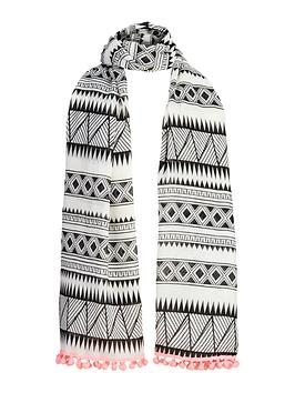 girls-aztec-pom-pom-trim-scarf