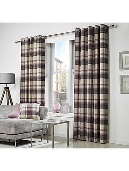 westary-check-rustic-woven-eyelet-curtains-66x90