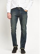 Straight Fit Vintage Coated Jeans