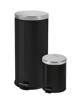 swan-retro-30-litre-and-5-litre-bin-set-black