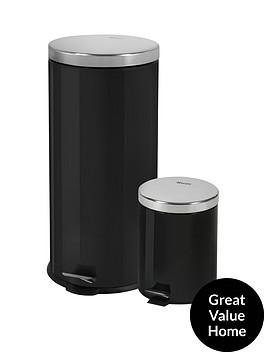 swan-retro-30-litre-and-5-litre-bin-set-black