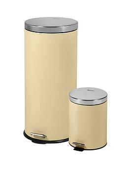 swan-retro-30-litre-and-5-litre-bin-set-cream