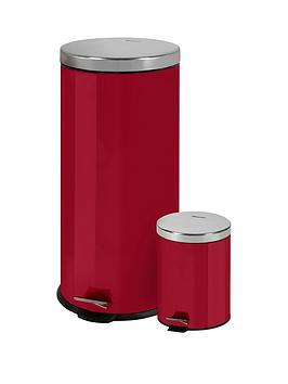 swan-retro-30-litre-and-5-litre-bin-set-red