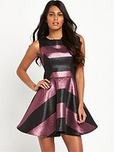 Metallic Stripe Prom Dress