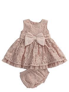 mamas-papas-lace-bow-dress-amp-knicker-set