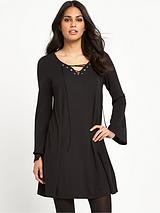 GLAMOROUS TIE FRONT BLACK DRESS