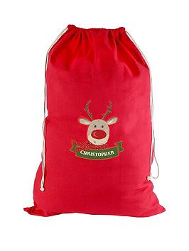personalised-red-reindeer-cotton-christmas-sack