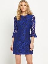 Lace Fluted Sleeve Skater Dresses