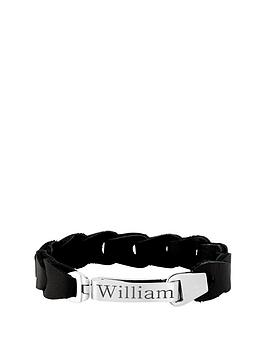 keepsafe-nbsppersonalised-black-leather-and-stainless-steel-mens-bracelet