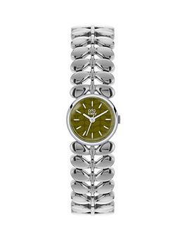orla-kiely-orla-kiely-olive-green-dial-with-silver-stem-link-bracelet-ladies-watch