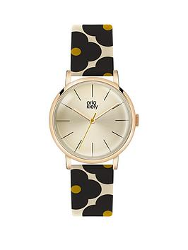 orla-kiely-champagne-gold-with-black-cream-and-yellow-flower-print-leather-strap-ladies-watch