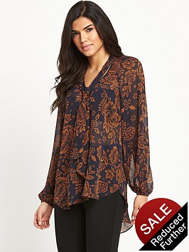 v-by-very-tie-neck-printed-blouse