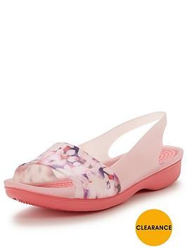 crocs-color-block-floral-flat-slingback-shoe