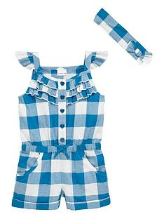 ladybird-girls-large-gingham-frilly-playsuit-with-headband-set