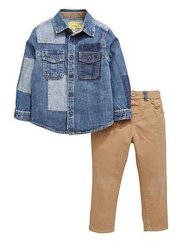 ladybird-boys-denim-patch-shirt-and-chino-pants-set-2-piece