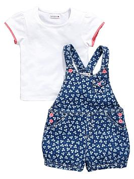 ladybird-girls-floral-chambray-short-dungarees-with-t-shirt-set