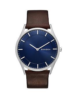 skagen-holst-blue-sunray-dial-dark-brown