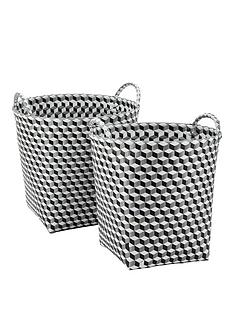 set-of-2-round-baskets-black