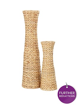 set-of-2-water-hyacinth-conical-shaped-vases-natural